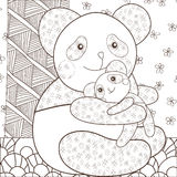 Coloring page cute panda hugging his baby. Whimsical line art vector illustration. brown outline vector illustration