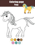 Coloring page with cute pony, horse. Educational game, drawing kids activity