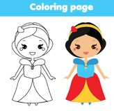 Coloring page with cute princess character in kawaii style. Drawing kids game. Printable activity. Coloring page with cute princess in kawaii style. Color the royalty free illustration