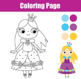 Coloring page with cute prnicess. Educational game stock illustration