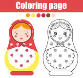 Coloring page with cute russian nesting doll. Children educational game, drawing activity. Color matreshka Stock Images