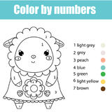 Coloring page with cute sheep character. Color by numbers educational children game, drawing kids activity. Coloring page with cute sheep, lamb character. Color Royalty Free Stock Photography