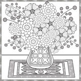 Coloring page decorative decorative elements flowers in the vase illustration Royalty Free Stock Photos