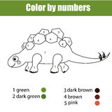 Coloring page with dinosaur stegosaurus. Color by numbers educational children game, drawing kids activity. Royalty Free Stock Images