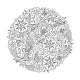 Coloring page with dolphin in floral circle Stock Image