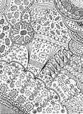 Coloring page in doodle abstract style. Vector art for adult col. Oring book with nature elements - leaves, clouds, sea, sky, flowers Stock Photography