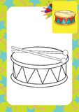 Coloring page. Drum and drumsticks Stock Images