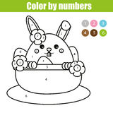 Coloring page with Easter bunny character. Color by numbers educational children game, drawing kids activity. rabbit in busket