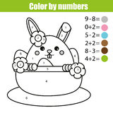 Coloring page with Easter bunny character. Color by numbers math educational children game, drawing kids activity. rabbit in buske