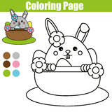 Coloring page with Easter bunny character. Printable worksheet. educational children game, drawing kids activity. rabbit in basket