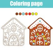 Coloring page. Educational children game. Color gingerbread house cookie. Printable activity page for kids. New year and Christmas. Theme stock illustration