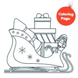 Coloring page. Educational children game. Color Santa sleigh. Printable activity page for kids. New year and Christmas theme.  vector illustration