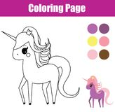 Coloring page. Educational children game. Unicorn, fairy pony. Drawing kids printable activity. Coloring page. Educational children game. Unicorn. fairy pony vector illustration