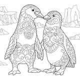 Zentangle stylized penguin couple Royalty Free Stock Images