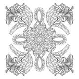 Coloring page with exotic flowers brunch, zentangle illustartion Royalty Free Stock Image