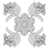 Coloring page with exotic flowers, zentangle illustartion for ad Stock Photo
