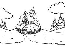 Coloring page fairy house Stock Photos