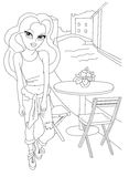 Coloring page with fashion girl. Royalty Free Stock Image
