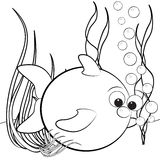 Coloring page - Fish and air bubbles Stock Image