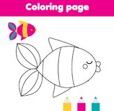 Coloring page with fish. Drawing kids activity for toddlers.  vector illustration