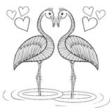 Coloring page with Flamingo birds in love, zentangle hand drawin Royalty Free Stock Photo