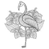 Coloring page with Flamingo in hibiskus Stock Image