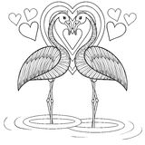 Coloring page with Flamingo in love, zentangle hand drawing illu Royalty Free Stock Image