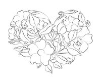 Coloring page flower heart. Page with details isolated on white background . Royalty Free Stock Photo