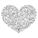 Coloring page flower heart St Valentine's day. Coloring page with details isolated on white background . Doodle zentangle pattern for relax and meditation Royalty Free Stock Photo