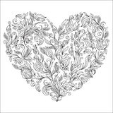 Coloring page flower heart St Valentine's day greeting card. Hand made print digital art. Coloring page with details isolated on white background . Doodle Stock Images