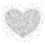 Coloring page flower heart St Valentine's day greeting card Royalty Free Stock Photos