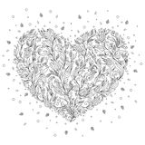 Coloring page flower heart St Valentine's day greeting card Royalty Free Stock Photography