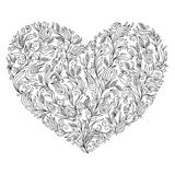 Coloring page flower heart St Valentine's day greeting card Stock Photos