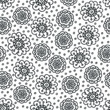 Coloring page flower pattern. Seamless hand drawn background for coloring book. Black and white Royalty Free Stock Images