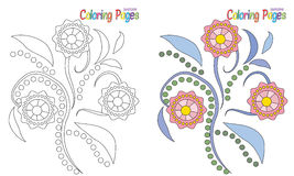 Coloring Page Flowers. Coloring book beautiful abstract flower for kids Stock Photography