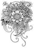 Coloring page with flowers and leaves. Coloring page with flowers and leaves,Hand drawn vintage floral pattern with dandelions or asters royalty free illustration