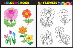 Coloring page flowers Royalty Free Stock Photos
