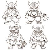 Coloring page with four cute Vikings Royalty Free Stock Photos