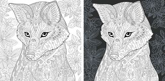 Coloring page with fox. Coloring Page. Coloring Book. Colouring picture with Fox drawn in zentangle style. Antistress freehand sketch drawing. Vector vector illustration