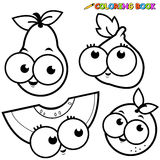 Coloring page fruit cartoon set pear fig melon orange. Black and white outline image of fruit cartoons: pear, fig, melon and orange Royalty Free Stock Images