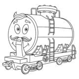 Coloring page with fuel rail tank wagon vector illustration