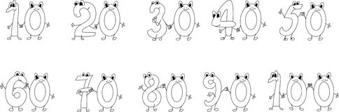 Coloring page funny numbers Royalty Free Stock Photo