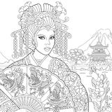 Zentangle stylized geisha woman. Coloring page of geisha japanese dancing actress holding paper fan with crane birds. Freehand sketch drawing for adult Royalty Free Stock Images