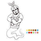 Coloring page with genie Royalty Free Stock Photography
