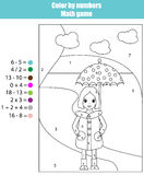 Coloring page with girl. Color by numbers math game Stock Images