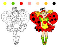 Coloring page girl in costume Ladybug Royalty Free Stock Photography