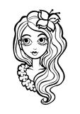 Coloring page with girl Royalty Free Stock Photography