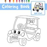 Coloring page Golf Cart cartoon character perspective view vector illustration