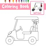 Coloring page Golf Cart cartoon character side view vector illustration