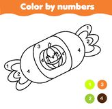 Coloring page with halloween candy. Color by numbers printable activity royalty free illustration